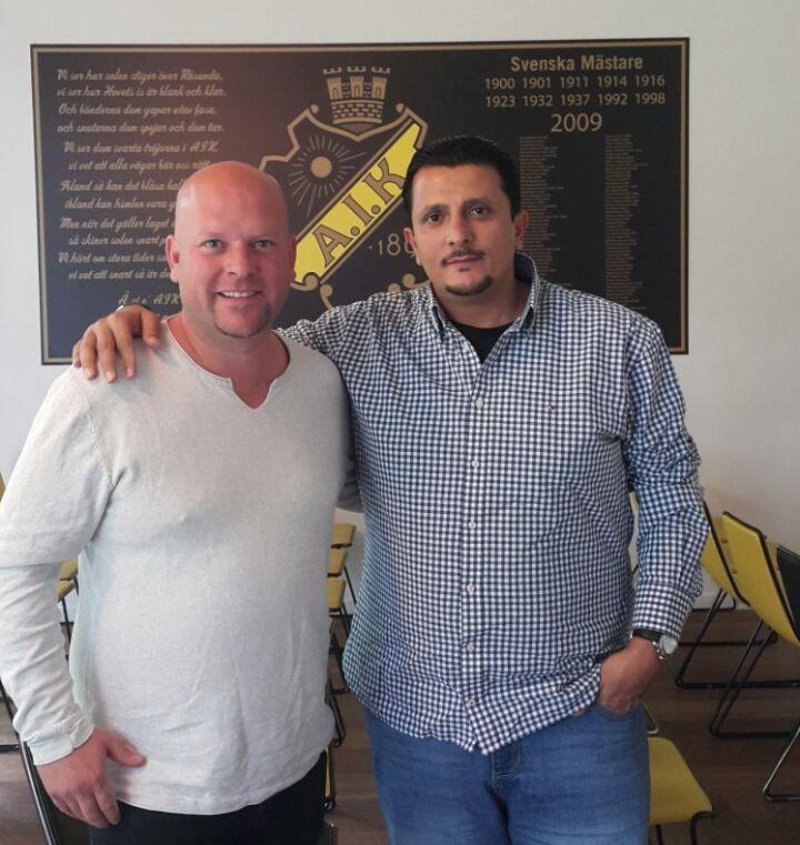 Inter Allies Chairman Omar El-Eter meets AIK Chief Scout Tobias Ackerman