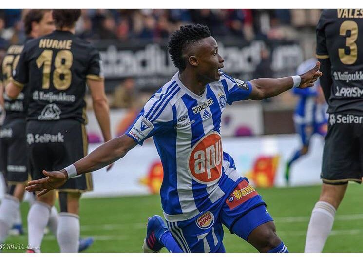 Evans Mensah features in HJK defeat